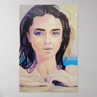 ロバートS.リー著プールの作り直された女の子 ポスター