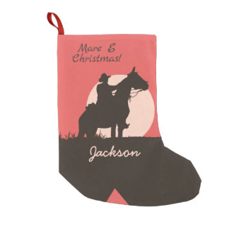 ロバEのクリスマスのカウボーイのシルエットのブーツ スモールクリスマスストッキング