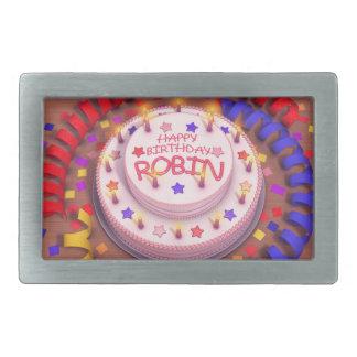 ロビンのお誕生日ケーキ 長方形ベルトバックル