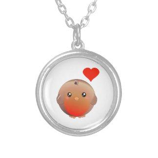 ロビンのかわいい鳥 シルバープレートネックレス