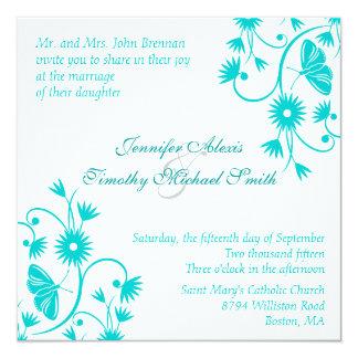 ロビンのエレガントな卵の青い花の結婚式招待状 13.3 スクエアインビテーションカード