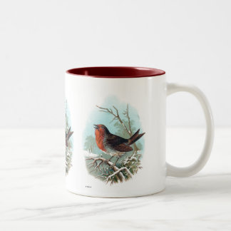 ロビンのヴィンテージの鳥の絵 ツートーンマグカップ