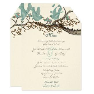 ロビンの卵のメニューを結婚している青いヴィンテージ愛鳥 カード