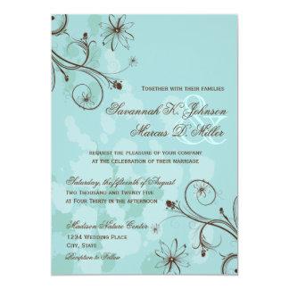 ロビンの卵の茶色がかった鋼色の花柄の結婚式招待状 カード