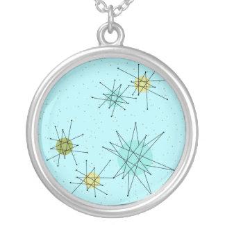 ロビンの卵の青い原子スターバストのネックレス シルバープレートネックレス