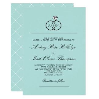 ロビンの卵の青かみ合わせたリング-結婚式 12.7 X 17.8 インビテーションカード