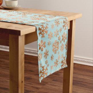 ロビンの卵の青の休日の銅の雪片パターン ショートテーブルランナー
