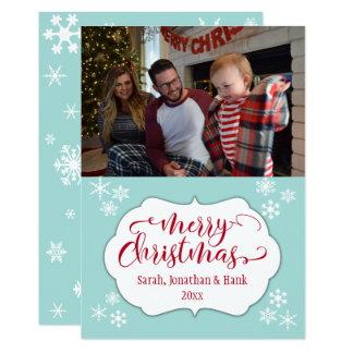 ロビンの卵の青及び雪片とのメリークリスマス カード