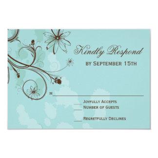 ロビンの卵青い花の結婚RSVPのカード カード