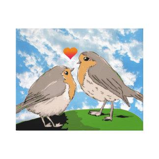 ロビンのredbreastの鳥愛 キャンバスプリント