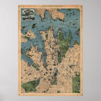 ロビンソンのシドニーのNSWの(1922年の)重版の地図 ポスター