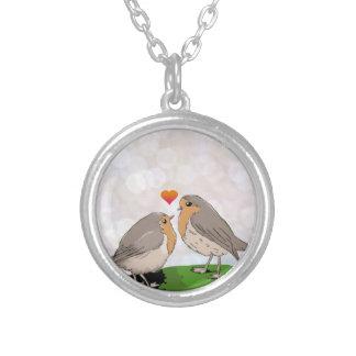 ロビン赤い胸の鳥愛 シルバープレートネックレス