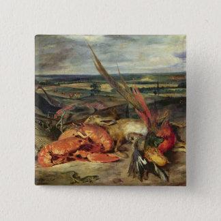ロブスターが付いている静物画、1826-27年 5.1CM 正方形バッジ