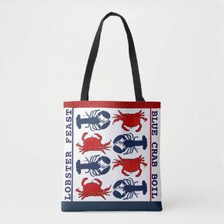 ロブスターのカニの赤白青の布のトートバック トートバッグ