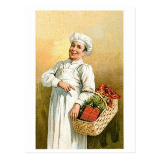 ロブスターのシェフのヴィンテージの食糧広告の芸術 ポストカード