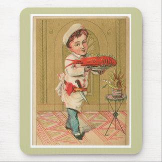 ロブスターのシェフのヴィンテージの食糧広告の芸術 マウスパッド