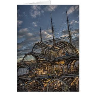 ロブスターのトラップおよび高い船のマスト カード