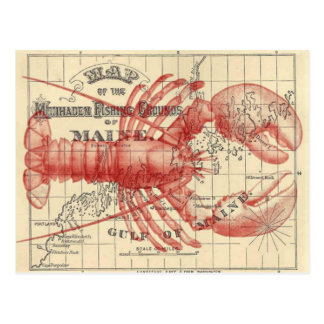 ロブスターの郵便はがきが付いているヴィンテージのメインの地図 ポストカード