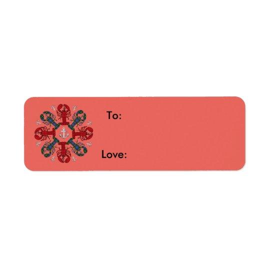 ロブスターの雪片のいかりのN.S. Christmasのサケ 返信用宛名ラベル
