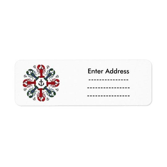 ロブスターの雪片のいかりのN.S. Christmasのラベル 返信用宛名ラベル