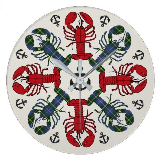 ロブスターの雪片のいかりのN.S. Christmasの時計 ラージ壁時計