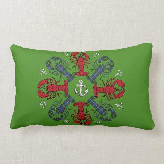 ロブスターの雪片のいかりのN.S. Christmasの赤い緑 ランバークッション