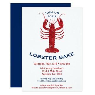 ロブスターは沸騰招待状のシーフードの夕食を焼きます カード