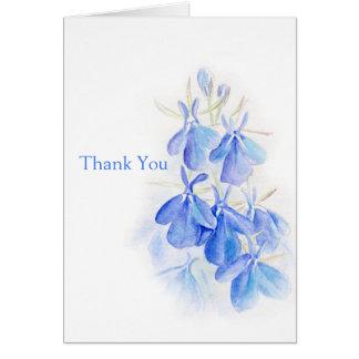 ロベリアの芸術の青い花の結婚式のサンキューカード カード