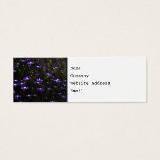 ロベリア、暗い背景が付いている紫色の花 スキニー名刺