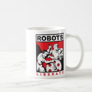 ロボットは自由に置きます コーヒーマグカップ