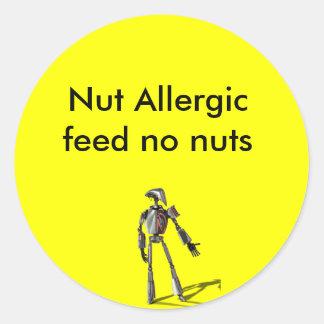 ロボット人-ナットを食べ物を与えないで下さい ラウンドシール