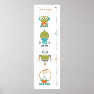 ロボット子供のカスタムな成長の高さの図表-芸術 ポスター