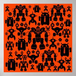 ロボット規則のおもしろいのロボットはオレンジロボット工学のシルエットを描きます ポスター