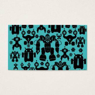 ロボット規則のおもしろいのロボットはパターン青のシルエットを描きます 名刺