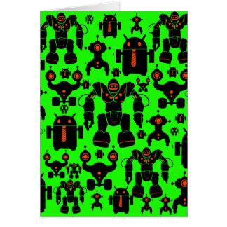 ロボット規則のおもしろいのロボットはライムグリーンのシルエットを描きます カード