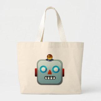 ロボット顔Emoji ラージトートバッグ