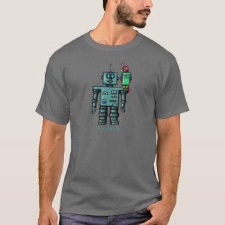 ロボティックオウムが付いているおもしろいでかわいいロボット Tシャツ