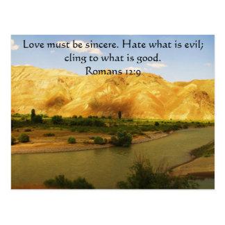 ロマンの12:9の   感動的な聖書の詩 ポストカード