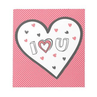 ロマンスのピンクのハートのかわいい菓子非常に愛して下さい ノートパッド