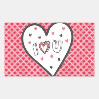 ロマンスのピンクのハートのかわいい菓子非常に愛して下さい 長方形シール