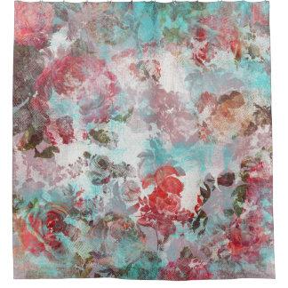 ロマンチックでシックなピンクの花のティール(緑がかった色)の水彩画パターン シャワーカーテン