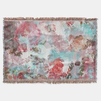 ロマンチックでシックなピンクの花のティール(緑がかった色)の水彩画パターン スローブランケット