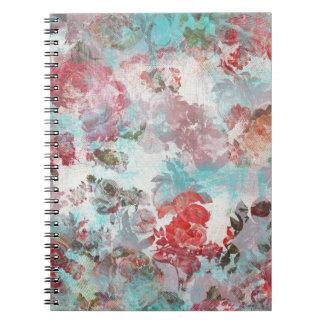 ロマンチックでシックなピンクの花のティール(緑がかった色)の水彩画パターン ノートブック
