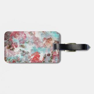 ロマンチックでシックなピンクの花のティール(緑がかった色)の水彩画パターン ラゲッジタグ