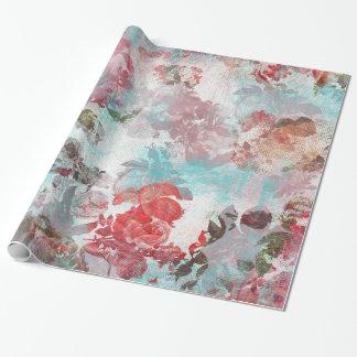 ロマンチックでシックなピンクの花のティール(緑がかった色)の水彩画パターン ラッピングペーパー