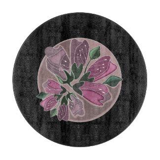 ロマンチックでシックな黒く、ピンクのヴィンテージの花柄 カッティングボード