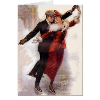 ロマンチックでビクトリアンなカップルのアイススケートカード カード
