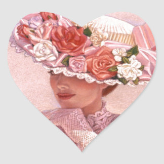 ロマンチックでビクトリアンな女性 ハートシール