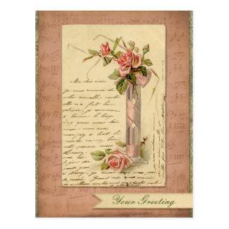 ロマンチックでフランスのなヴィンテージのピンクのバラの郵便はがき ポストカード