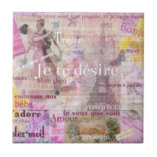 ロマンチックでフランスのな愛はヴィンテージのパリの芸術を言い表わします タイル